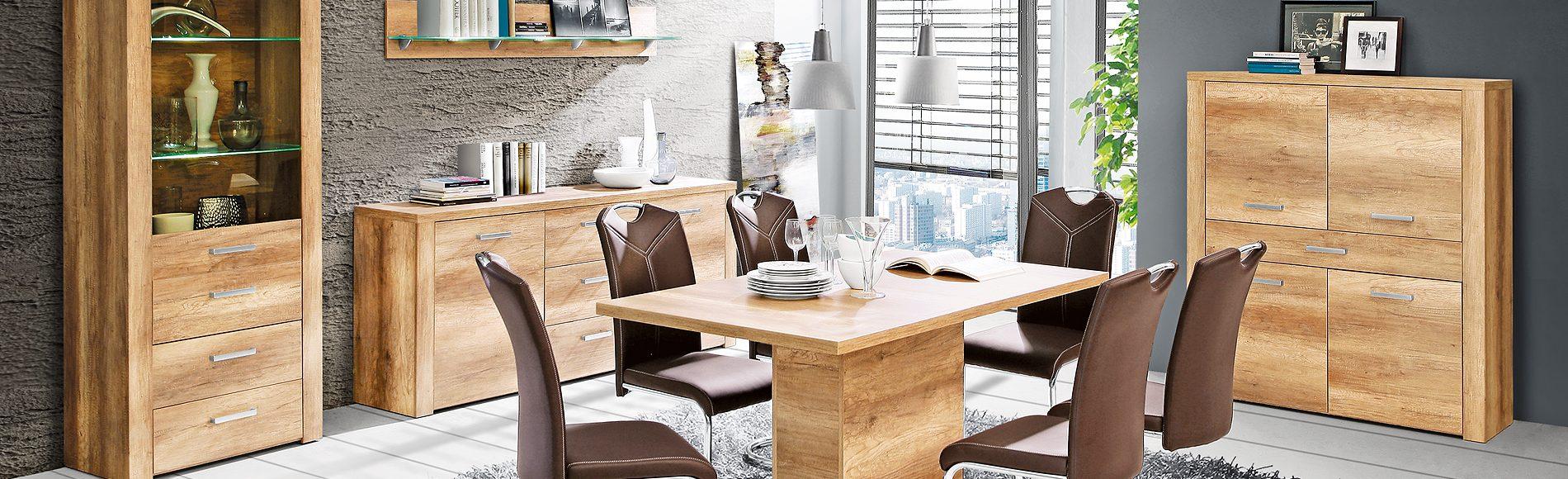 Speisezimmer mit Sideboard, Highboard, Vitrine, ausziehbarem Esstisch und Schwingstühlen günstig kaufen bei Robin Hood Möbel+Küchen in Donaueschingen